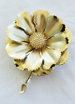 CORO Vintage Signed Gold Tone Layered Petal Flower Brooch Pin - $12.60