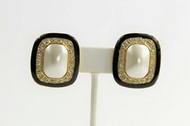 ESTATE VINTAGE Jewelry 80's 90's FX PEARL PAVE RHINESTONE BLACK ENAMEL E... - $10.00