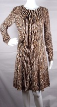 Michael Kors women's dress leopard animal print fit flare long sleeve si... - $24.76