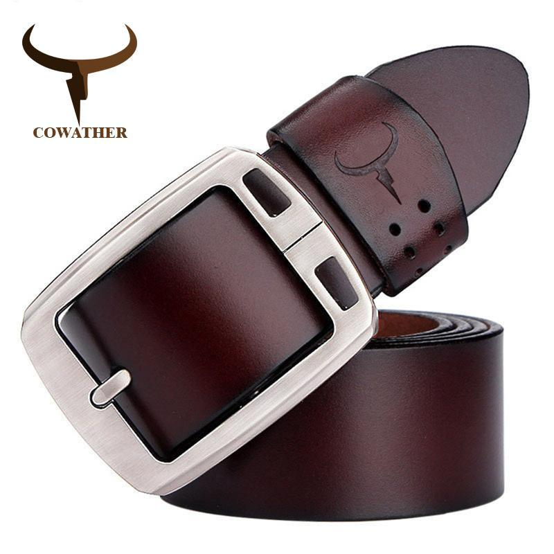 COWATHER cowhide genuine leather belts for men brand Strap male pin buckle vinta