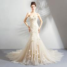 Romantic Light Champagne Mermaid Wedding Dress - $251.98