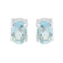 Oval Cut Blue Topaz Gemstone 925 Sterling Silver Women Stud Earring - $11.61