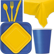 Disposable Party Supplies for 28 Guests - Royal Blue and Yellow - Square... - $38.97