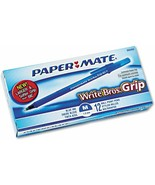 NEW Paper Mate Write Bros Grip Ballpoint Stick Pen Blue Ink Medium Dozen... - $9.11