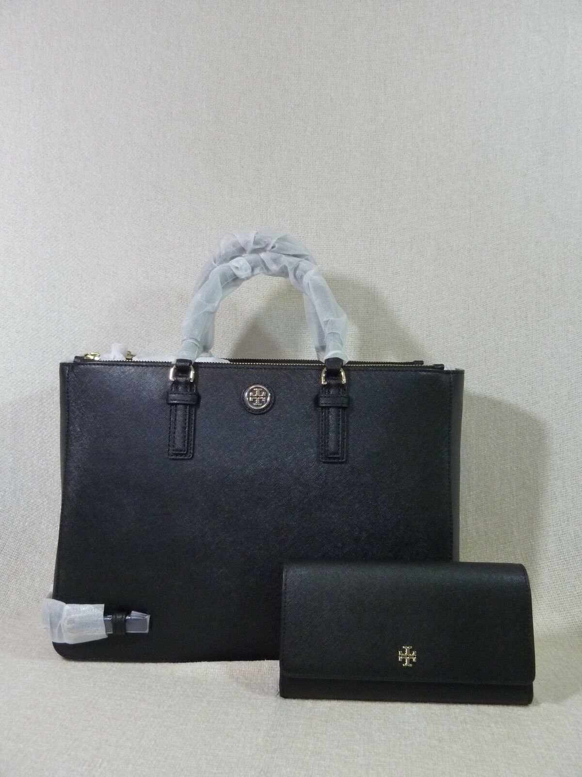 Primary image for NWT Tory Burch Black Saffiano Leather Large Robinson Multi Tote + Wallet