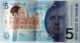 Bank Of Scotland New Polymer £5 Five Pounds ** AE008170 Note ** - $31.87