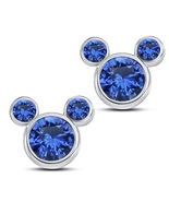 Mickey Mouse Stud Earrings For Women's 14k White Gold Plated 925 Sterlin... - $43.60