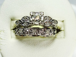 Vintage 14K White Gold 1/5 ct TW Diamond Wedding Set - $485.00
