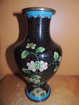 "Vintage Cloisonne 9+"" Vase Copper Enamel Stone Black floral Antique China - $59.99"