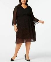 Anne Klein Dress Sheer Long Sleeve Black Leaves Sz 20W Plus NEW NWT 220 - $74.50