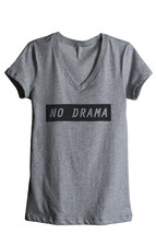 Thread Tank No Drama Women's Relaxed V-Neck T-Shirt Tee Heather Grey - $24.99+