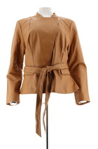 Isaac Mizrahi Snap Front Lamb Leather Jacket Belt Camel 18W NEW A279979 - $148.48
