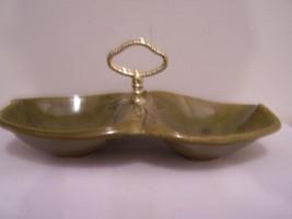 Pottery Candy Dish Condiments Relish Avocado Green Handle # 716 Calif US... - $24.70