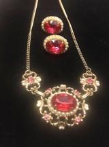 Vintage Pink Rhinestone Faux Pearl Necklace Screwback Earring Set Goldtone - $35.72