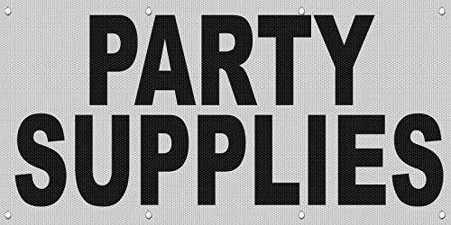 Party Supplies Black MESH Windproof Fence Banner Sign 3 Ft x 6 Ft