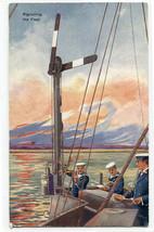 Signalling The Fleet Semaphore British Navy Ship 1910c postcard - $6.93