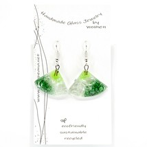 Handmade Recycled Fused Glass Green Triangle Drop Hook Earrings Made Ecuador