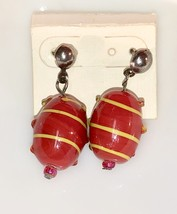 VTG 80s/90s Hand Blown Glass Bead Red w/Yellow Stripes Dangle Pierced Ea... - $15.20