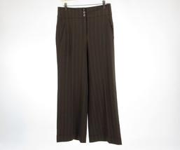 Brown pinstripe ANN TAYLOR LOFT stretch wide leg dress pants 6P - $19.99
