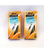 BIC Round Stic Grip Ball Pens Medium Black/Blue 12 Pcs x 2 set - New! - $9.95