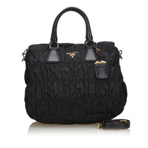 Pre-Loved Prada Black Nylon Fabric Gathered Satchel Italy - $635.86