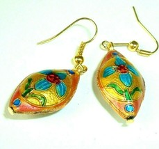 Vintage Earrings Cloisonne Floral Danglers Gold Tone Boho hippie Costume... - $9.85