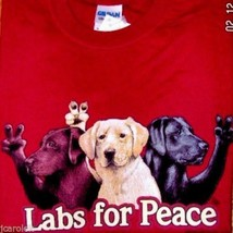 Gildan T-shirt Dog S 2XL Labs For Peace Red Cotton NWT Short Sleeve New - $20.20