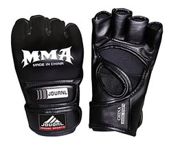 PANDA SUPERSTORE Cool Black Adult Half-Finger MMA Fighting Mitts Training Gloves