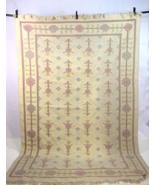 "Vtg Wool Tan Cream Area Rug Floral Southwestern Textile Home Decor 66"" x... - $147.50"