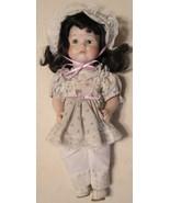 """Ceramic Doll - White Dress & Bonnet & Pink Ribbon - 11"""" Tall  Arms & Leg... - $17.63"""
