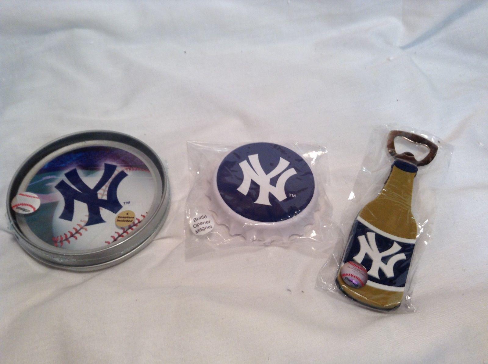 NEW MLB NY Yankees Party Bottle Opener & Coaster Set