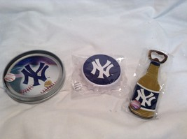 NEW MLB NY Yankees Party Bottle Opener & Coaster Set