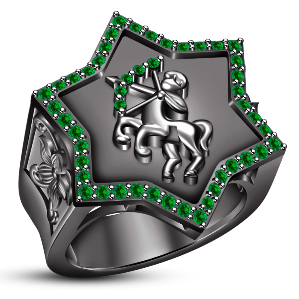 Green Sapphire Sagittarius Zodiac Sign Men's Band Ring Black Gold Fn. 925 Silver