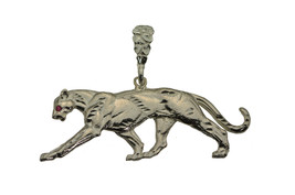 Sterling Silver 925 Heavy Large Panther Cougar Authentic charm Pendant R... - $79.18