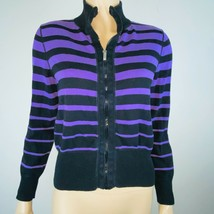 Jones of New York Sport Purple Black Stripe Zip Sweater Cardigan Petite M - $21.77