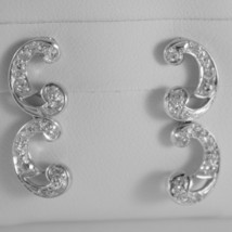 18K WHITE GOLD DOUBLE CURVE EARRINGS DIAMOND DIAMONDS 0.45 CARATS MADE IN ITALY image 1