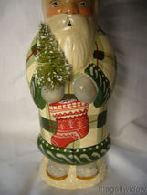 Vaillancourt Folk Art Father Christmas in Plaid with Ski Stocking & Bell Signed image 6