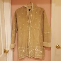 GAP GIRLS FAUX SUEDE BEIGE COAT XXL 14-16 with embroidery - $40.00