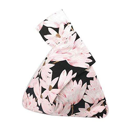[Lotus ] Purse for Women Japanese Style Storage Bag Cotton Bag Wrist-let Handbag
