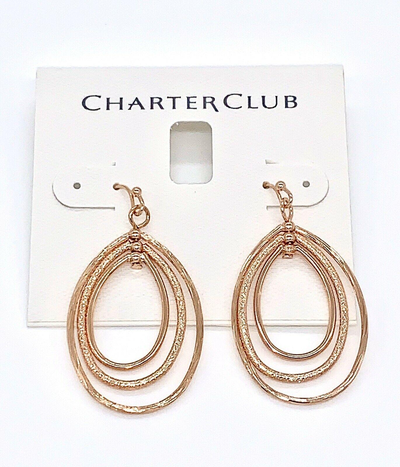 Charter Club Gold-Tone  Drop Hoop Earrings - $12.00