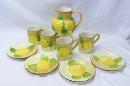 "Italy Lemon Pitcher 10.25"" 4 Mugs 4.75"" 4 Plates 8"" Lot of 9 - $97.99"