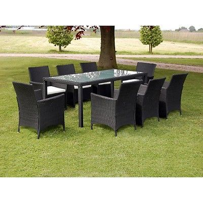 Garden Rattan Dining Set 8 Seats Cushions Chairs Glass Top Table Patio Furniture image 3