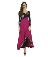 Ira Soleil knitted viscose black purple high low kurti with floral print - $49.99