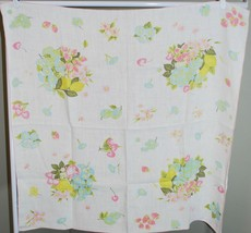 Vintage Small Tablecloth - Morning Glory Flowers Cherries 34x34 Square L... - $33.66
