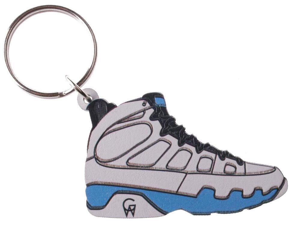 Good Wood NYC Tarheel Carolina Blue 9 Sneaker Keychain White/ Key Ring key Fob