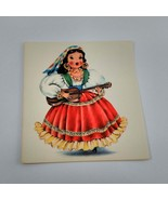Dolls of Many Lands Card Mexico Vintage Blank Note Card for Collage, Eph... - $2.50