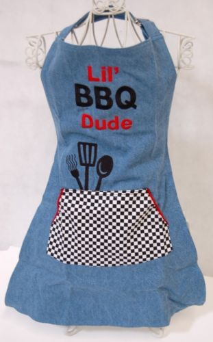 Izzys Busy Little Barbecue Dude 3 Piece Set Apron Chef Hat Oven Mitt Denim Red