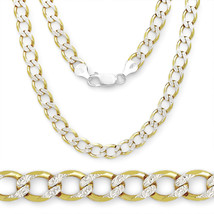 6.6mm Men/Women's Stylish Italian 925 Silver 14K YG Plated Curb Chain Ne... - $114.53+
