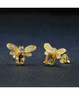 Bee Earrings - 100% Natural Citrine 925 Sterling Silver - 14K Yellow Gol... - $34.99