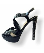 Dior Womens Metal Heel Black Patent Cannage Strappy Open Toe Platform He... - $187.00